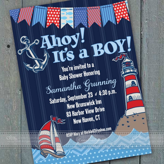 baby shower invitations, navy blue baby shower invitations, diaper raffle, coastal baby shower invitations, Ahoy! It's a Boy!, IN406
