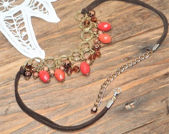 Bead Necklaces for Women, Beaded Choker, Vintage Boho Necklace, Plastic, Metal, Leather Choker, Bead Chokers for Women, Orange Bead Necklace