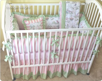Pastel / White Over the Moon Toile and Pink Stripe Baby Girl Crib Bedding Set -- Bumper Pad, Crib Skirt, Blanket, and Accent Pillow