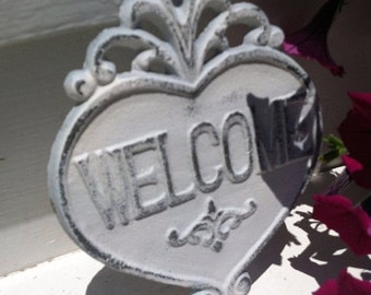 ON SALE, SPRING Sale Cast Iron Wall Decor / WeLCoMe Sign / Cast Iron Welcome Sign