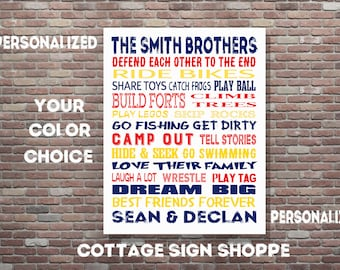 Brothers Wall Art, Boys Room Decor, Personalized Brothers Art, DIGITAL, YOU PRINT, Brothers Room Decor, Custom Brothers Art