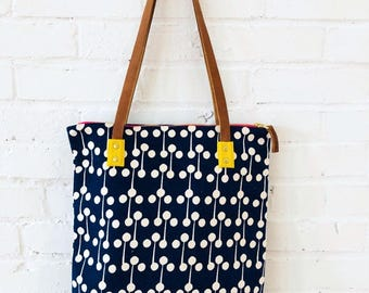 LOLLI POP NAVY Bark Cloth Mod Tote with Leather Straps