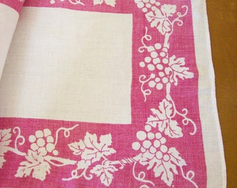 Vintage Linens Grapevine Stencil Design Table Runner + Napkin Casual Wine & Dine Set of 2 Outdoor Patio
