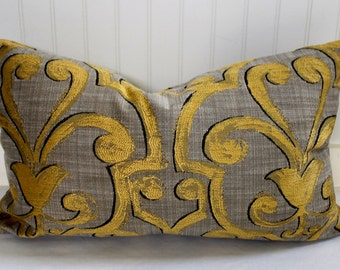 Grey and Gold Medallion Pillow Cover / Lumbar 14 x 24 / Designer Fabric/ Handmade Home Decor Accent Pillows