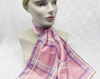 1960s Vintage Pink and Purple NOS Plaid Neck Scarf from Goldblatt's