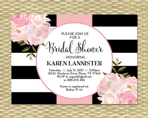 Bridal Shower Invitation Black White Stripes Floral Pink