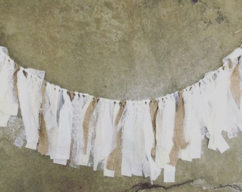 Rustic Lace Garland, Wedding Garland, Shabby Chic, Lace Banner, Country Chic, Boho, Decor, Backdrop, Swag
