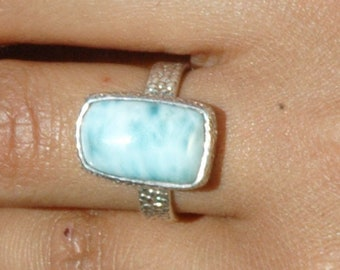 Fabulous Larimar Ring in Textured Sterling Silver Band Size 6 P153
