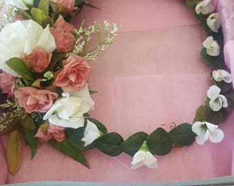 Floral headpiece for weddings. Bride to be. Made by a stay at home veteran.