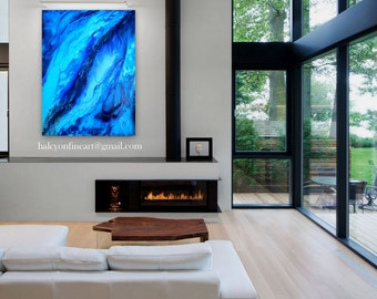 """Large fluid Wall Art Abstract Contemporary Modern Original Painting """" Dwell """"  36x48  ON SALE plus FREE Shipping"""