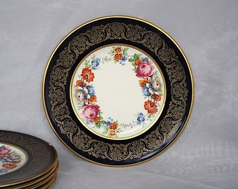 Fondeville Ambassador Ware England - Vintage Dessert Plates - Blue Floral Plates - 1940s China Plates - Small Plate Set - English China Set