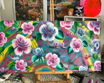 Abstract Floral Art, Painting, Flowers, Roses, Folk Art, Acrylic painting, Colourful, Art, Original, Canvas Art, Handpainted