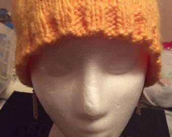 Handmade Knit yellow yarn winter hat, Made in Canada, winter hats, hats, adult hats, Laska Boutique