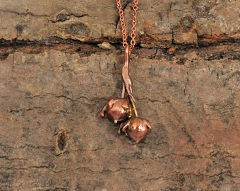 Electroformed Real Seed Buds Copper Necklace L26