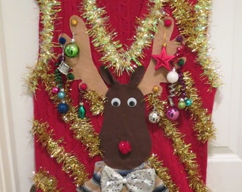 Custom 3-D Reindeer Tacky Ugly Christmas Sweater with Wild Garland, Light UP Mens Womens  Vest  PRIORITY Shipping
