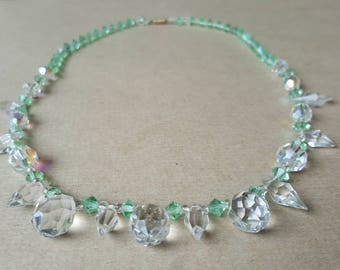 Vintage Crystal Necklace 1950s Aurora Borealis  White Pale Green Swarovski Crystal Drop Necklace