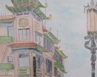 Postcard from Chinatown 1937, original pen and watercolor painting