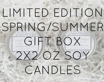 Pick Two 2 oz Spring & Summer Soy Candle Tins Gift Box   Bulk Soy Candles   Scented Soy Candles   Candle Gift Set   Gift Idea   Soy Candles