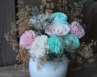 Pink and Mint Sola Centerpiece