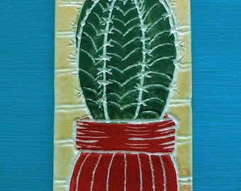 Cactus in red pot wall hanging