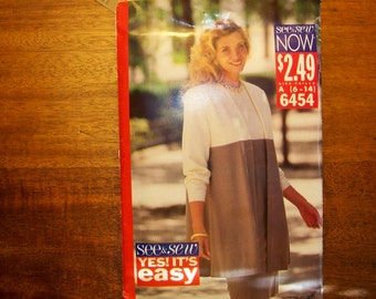 1992 See & Sew Pattern - 6454 - Misses' / Misses' Petite Jacket And Dress - Size A (6-14)