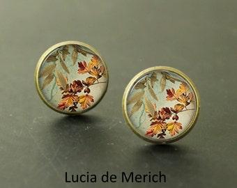 Tiny earrings - Botanic stud earrings - Botanic love - Autumn leaf stud earrings - Everyday Earrings - Coupon code - gift for her