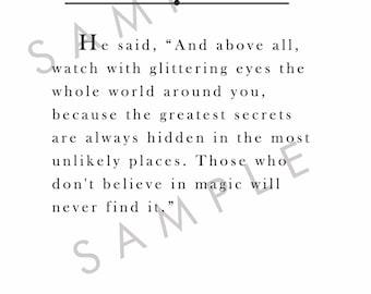 """Roald Dahl """"Magic"""" Quote Art Print Instant Download"""