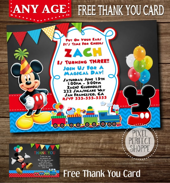 Bounce Sporting Club S 3rd Anniversary Party With Surprise: Items Similar To ANY AGE Mickey Mouse Train Invitation