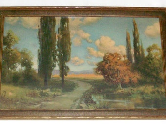 Framed 1920's Robert Atkinson Fox Art Deco Landscape Lithograph Print - Good Luck Line - 17 x 11 - Free Shipping