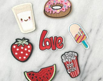Snack Attack - Set of 7 Embroidered Patches