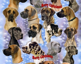 Great Dane Dog Christmas Gift Wrapping Paper.