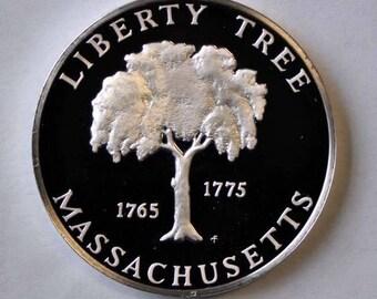 "1976 Franklin Mint Sterling State Proof 1 1/2"" Bicentennial Massachusetts 1oz"