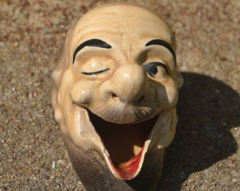 Vintage Old Man Winking Open Mouth Ashtray