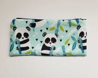 CHOOSE SIZE pencil case pouch/ adorable baby pandas in aqua and green