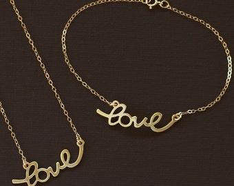 Gold Love Necklace and Bracelet Set