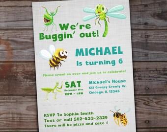 Bug birthday invitation, Buggin Out birthday, Insect birthday invitations, Bumblebee birthday party, creepy crawly birthday invitations