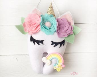 Tooth fairy pillow Personalized tooth fairy pillow Tooth Keeper dentist gift Stuffed Tooth fairy pillow Cute UNICORN tooth fairy pillow