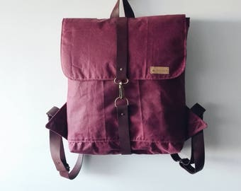 Backpack, BLACk FRIDAY, canvas backpack, waxed canvas, tarpaulin, leather backpack, leather handbag, craft backpack, red, leather