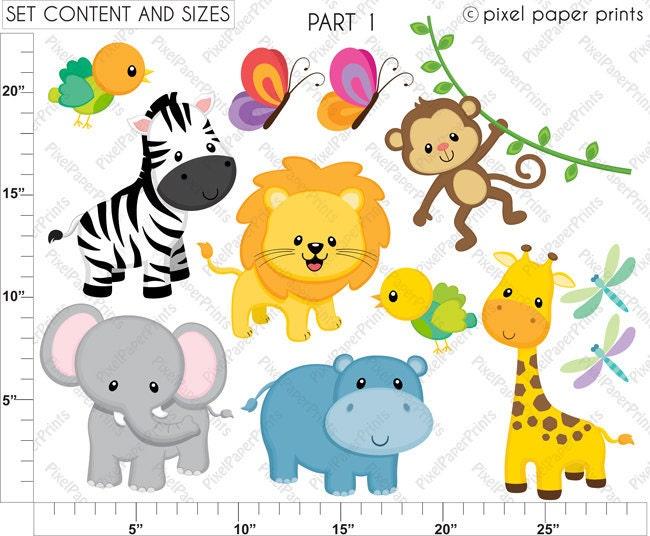 jungle friends animal clipart clip art and digital paper set rh etsystudio com jungle animal clipart animaux jungle clipart