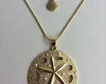 Gold Layering Necklace  ~ Sand Dollar ~ Seashell ~ Beach Jewelry