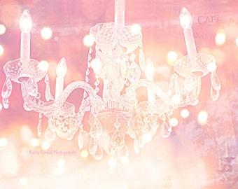 Paris Chandelier Print, Sparkling Crystal Chandelier, Dreamy Pink Crystal Chandelier Wall Art, Baby Girl Nursery Decor, Pink Chandelier Art