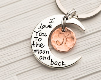 to the moon and back,stamped keychain, initial keychain, I love you keychain, bff keychain, keyring initial, rose gold keychain