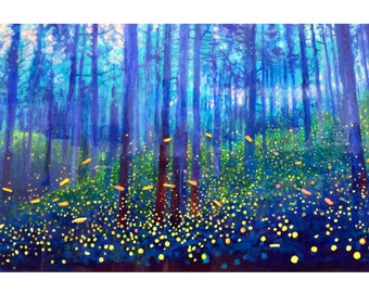 Large Poster Art Firefly Forest print in cobalt blue forest