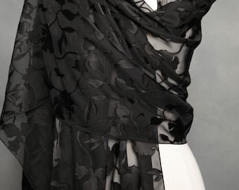 Black Scarf Long Scarf Floral Scarves Scarves Neck Scarf Handmade Scarve Shoulder Wrap Evening Scarves Fashion Scarf  Neck Scarves