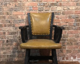 Vintage Wood Club Chair Upholsteted Lounge Decor