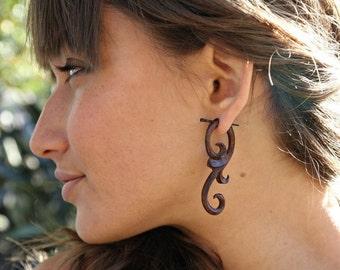 Ma'ayan Curls - Organic Wood Post Earrings Brown 1