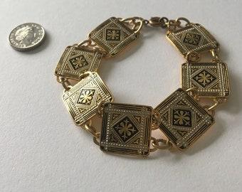 Vintage - Spanish - Damascene Style Bracelet - Toledo - Flowers - Black, Silver & Gold Tone