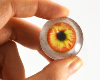 30mm Orange and Yellow Glass Eye for Pendant Jewelry Making or Taxidermy Fantasy Human Doll Eyeball Flatback Circle