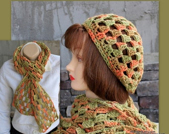 SALE! TEN dollars OFF! - Summergreen Hat and Scarf Set in Beautiful Pima Cotton - Lightweight Wearable Summer Cotton Yarn