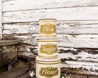 Vintage White Cannister Set ~ Flour Sugar Tea ~ Early 1900s ~ Farmhouse Country Chic Style Decor ~ Rare Set